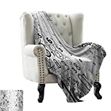 BelleAckerman Security Blanket Modern,Vector School Design Mathematic Frame Like Numbers in a Row Image Work of Art,Black and White Reversible Soft Fabric for Couch Sofa Easy Care 50'x60'