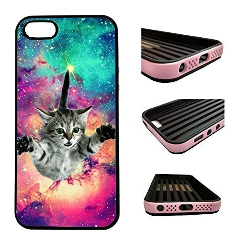 hot sale online e4beb 2bd9a CorpCase iPhone SE / 5 / 5S / 5SE Case - Hipster Flying Cat Space Galaxy /  Hybrid ULTRA Protective iphone 5/5S/5SE Case With Great Style - Features ...