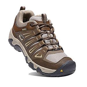 KEEN Men's Oakridge Waterproof Wide Hiking Boot, Cascade/Brindle, 10 W US