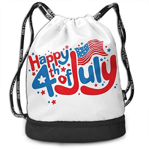 Bulk Drawstring Backpack, Lightweight Gym Sport Bundled Bag Wet Dry Separated Yoga String Cinch Tote Bag Multipurpose Casual Bag For Adult Kids - Happy 4th Of July]()