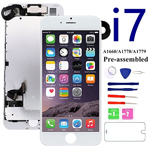 - for iPhone 7 Screen Replacement Full Assembly [White] - MAFIX 3D Touch LCD Display Screen with Proximity Sensor, Earpiece and Front Camera, Repair Tool and Glass Protect