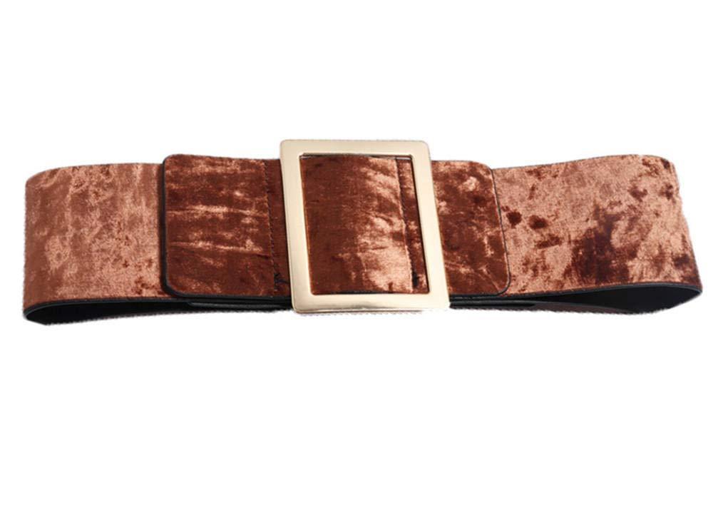 Brown Women's elegant wide belt with sweater dress belt velvet rhinestone inlaid wild waist seal bluee 7186cm send girlfriend