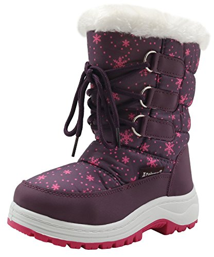 Price comparison product image Apakowa Kids Girls Insulated Fur Winter Warm Snow Boots (Toddler/Little) (Color : Purple, Size : 6 M US Toddler)