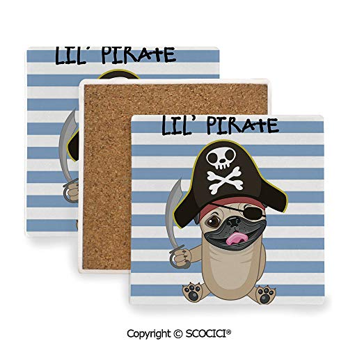 (Ceramic coaster With wood Bottom Protection, For Mugs, Wine Glasses, Protects Furniture Square,Pirate,Buccaneer Dog in Cartoon Style Costume Holding Sword,3.9