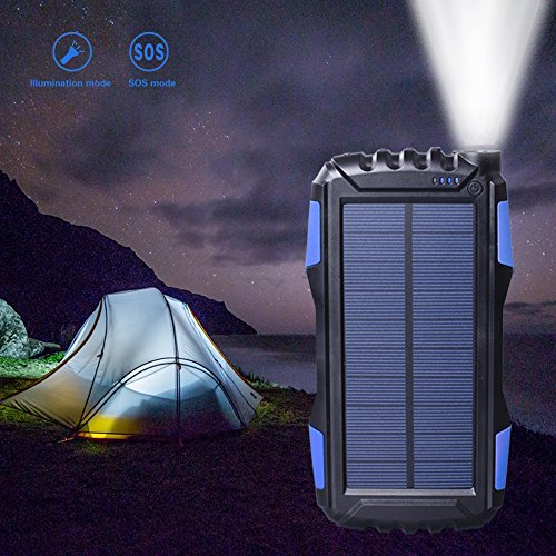 lightweight Solar mobile phone Charger 25000mAh Friengood Solar electrica Bank by LED brightness for Emergency Outdoors twin USB Port Solar driven Battery Charger for iPhone iPad Android Cellphones Blue Solar Chargers