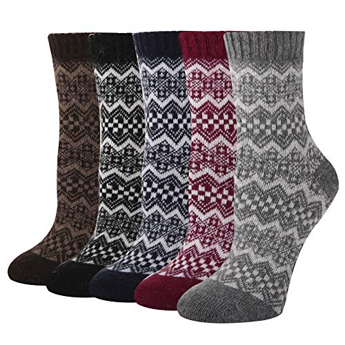 Women's Soft Warm Thick Knit Wool Cozy Crew Socks 5 Pack Colorful Ethnic Casual Fall Winter Socks ()