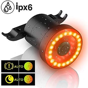 MEIDI Luz Trasera Bicicleta, XLite100 Inteligente USB Recargable Rojas LED IPX6 Impermeable Alarma Luz Trasera para Bici