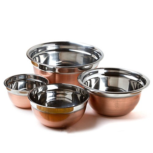 (Beautiful Deluxe Shiny Copper Finish Stainless Steel Deep Mixing Bowls (Set Of 4) Kitchen Cooking Durable Metal Lovely Light Useful Outstanding Structure Euro Style Serving Bowl Great Quality)