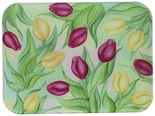 (McGowan's TufTop Red and Yellow Tulips Tempered Glass Cutting Board. 12 by 9 inches.)