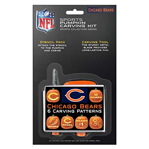 NFL Chicago Bears Halloween Pumpkin Carving Kit, 6 Stencils, Orange -