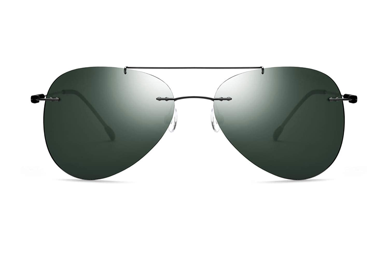 Men Classic Frameless Ultralight Polarized Sunglasses Ultralight Titanium Alloy Pilot Drive Glasses