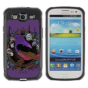 Hybrid Anti-Shock Defend Case for Samsung Galaxy S3 / Pop Art Bird Painting