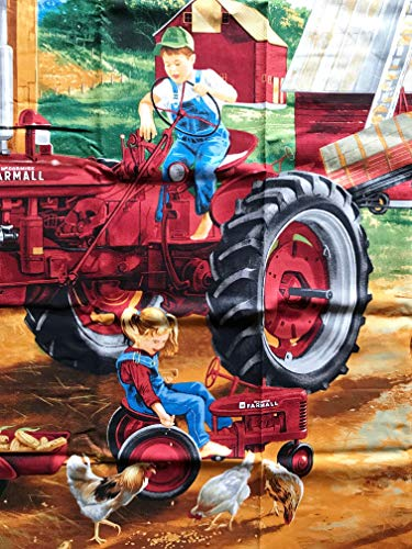 Farmall Tractor & Pedal Tractor Scenic Farm Cotton Fabric Panel (Great for Quilting, Sewing, Craft Projects, Pillow Case or Throw Pillows) 42