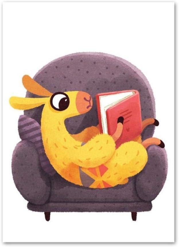 Lfnfl Cartoon Animal Alpaca sentado en un sofá leyendo un