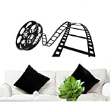 Wall Decal Movie Reel 23'' Tall 50'' Wide in Black (Removable Wall Sticker) FGD Brand