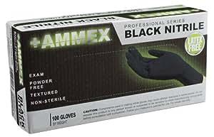 Ammex ABNPF Black Nitrile Glove, Medical Exam, Latex Free, Disposable, Powder Free, Small (Case of 1000)
