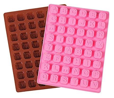 Molde de silicona con las letras del alfabeto, de SinCook, para tarta, chocolate, hielo, pudín o gelatina, 48 letras: Amazon.es: Hogar