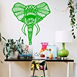 Vinyl Decal Africa Elephant Mandala Wall Meditation Eastern Art Sticker Zen Interior Bohemian Bedding Bedroom Nursery Living Room Yoga Studio Room Home Décor Murals S40