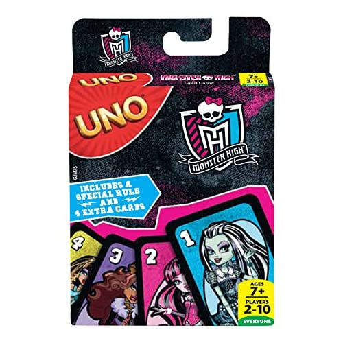 Mattel Jeux cjm75–Jeu de cartes Uno Monster High