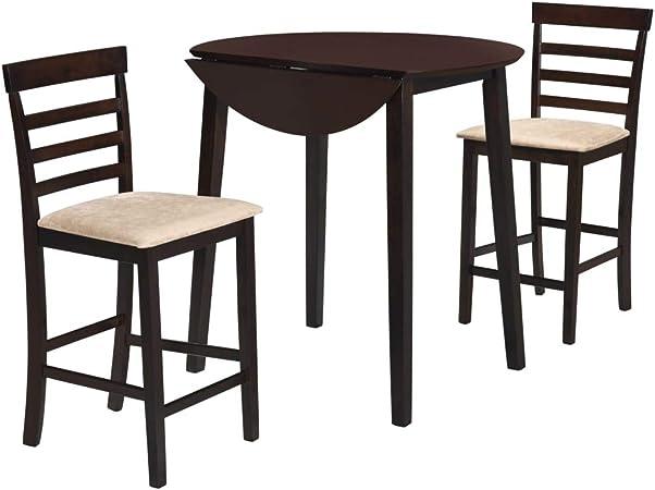 vidaXL Set Tavolo da Bar e Sedie 3 pz Legno Massello Marrone