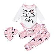 Malada Newborn Infant Baby Girl Letter Romper Tops+Heart Pants Hat 3pcs Clothes Set (3M, Pink)