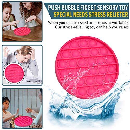 Proke Push Pop Bubble Sensory Fidget Toy, Autism Special Needs Stress Reliever Squeeze Sensory Toy for The Old/The Young, Children Popping Fidget Toy - Rose