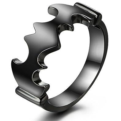 Batman Wedding Ring Sets Sterling Silver Black Gold Plated