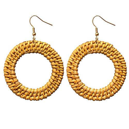 AMOR SPES 18K Gold Rattan Drop Earrings for Women Handmade Lightweight Wicker Straw Earrings Weaving Braid Dangle Earrings