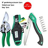 Pruning Tools 10 Inch Camping Foldable Saw Garden Folding Saw Gardening Pruner Tree Trimmers Scie Tool Portable Folding Knife 1saw with 1scissors1