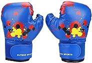 Kids Boxing Gloves, Children Cartoon MMA Sparring Gloves PU Leather Boxing Training Gloves for Kids Aged 2-11