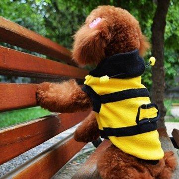 Bheema Cute Pet Dog Cat Bumble Bee Dress Up Costume Apparel Coat Clothes - S (Pet Bumblebee Costume)