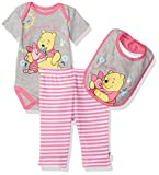 Apparel : Disney Baby Girls' Pooh 3 Piece Bodysuit, Pant and Bib Set