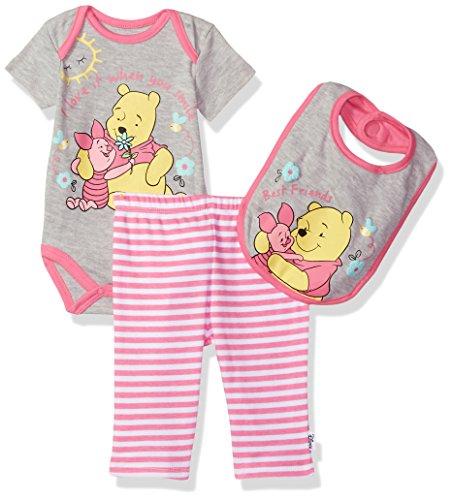 Disney Baby Girls' Pooh 3 Piece Bodysuit, Pant and Bib Set, Sugar Plum Pink, 0/3 (Pooh Baby Girl)
