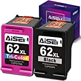 AISEN Remanufactured HP Ink Cartridge 62 Replacement for HP 62XL 62 XL Used in OfficeJet 5740 8040 Envy 5540 5640 5660 7644 7645 OfficeJet 200 250 Series Printer (1 Black 1 Tri-Color)