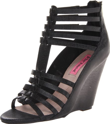 Betsey Johnson Women's Bonito Wedge Pump,Black/Multi,8 M US (Betsey Wedges Leather Johnson)