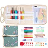 Damero Ergonomic Crochet Hooks Set, Travel Canvas Roll Organizer with 9pcs 2mm to 6mm Soft Grip Crochet Hooks and Complete Knitting Accessories, All in One, Easy to Carry, Plum Flowers