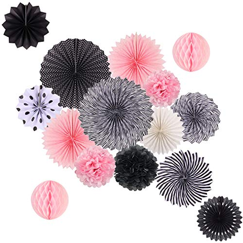 Pink Halloween Party (Hanging Party Decorations Set Tissue Paper Fan Paper Pom Poms Flowers and Honeycomb Ball for Wedding Birthday Bridal Showers Graduation Party Decor Black Pink)