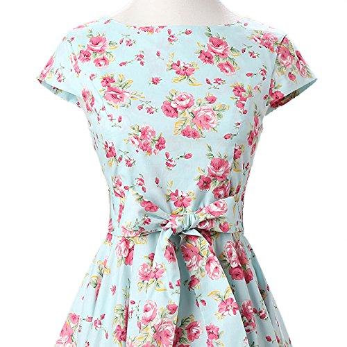 Floral Fiftieschic Maniche Donna Corte Vestito Sera Mint rYEYA