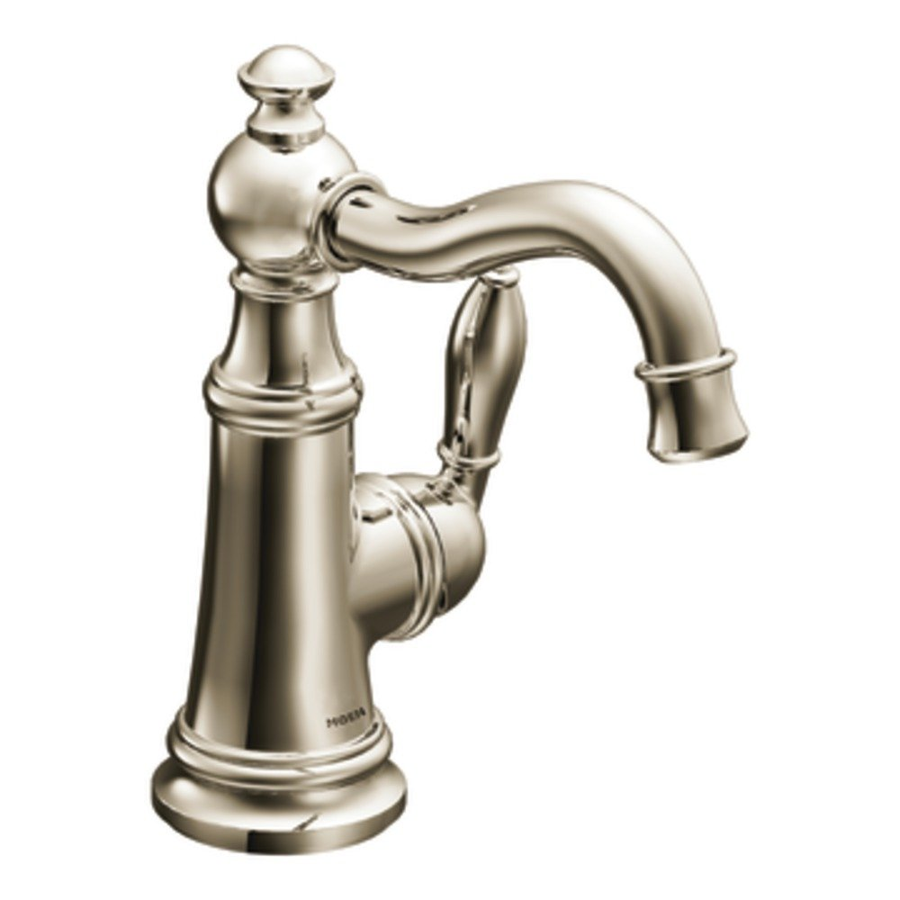 Moen S42107NL Weymouth One-Handle Single Hole Traditional Bathroom Sink Faucet with Drain Assembly, Polished Nickel