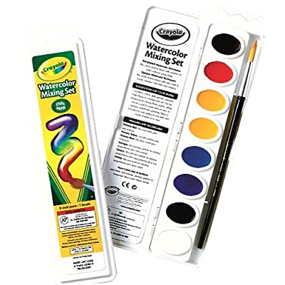 Crayola Watercolor Mixing Set with Taklon Paint Brush, 8 Paint Colors: Toys & Games