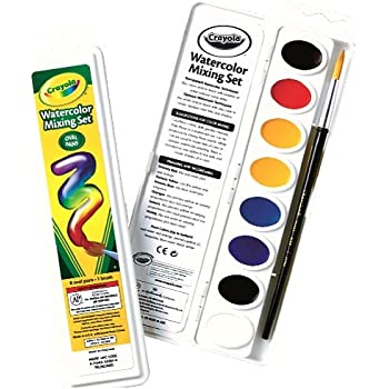 Crayola Watercolor Mixing Set with 8 Semi-moist Oval Pans and 1 Taklon brush
