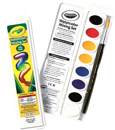- Crayola Watercolor Mixing Set with Taklon Paint Brush, 8 Paint Colors