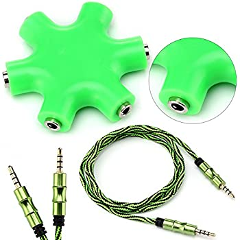 Aux Cord (1 Piece) For Car 3.5mm + 6-Port Audio Splitter For 3.5mm Pin - Headphones, Auxiliary Cord, Etc. - (Green)