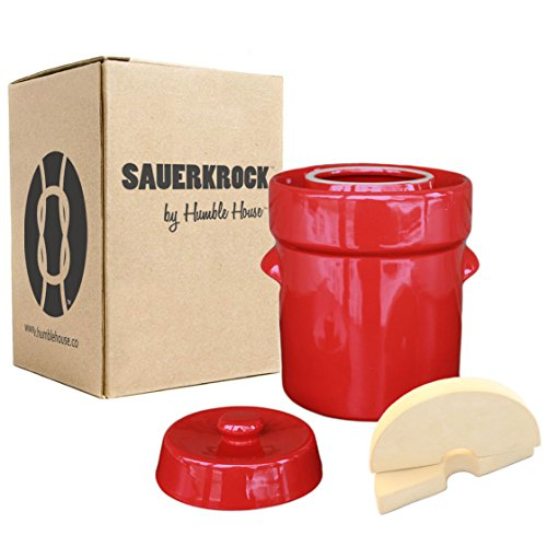 Humble House Fermentation Crock German-Style SAUERKROCK'Original' 5 Liter (1.3 Gallon) Water Sealed Jar, Lid and Weights in Heirloom Red - For Fermenting Sauerkaut, Kimchi and Pickles!