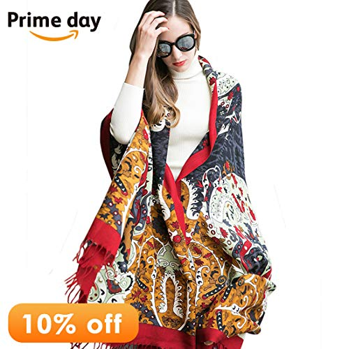 DANA XU 100% Wool Women's Large Pashmina Shawls and Wraps Cashmere (Fine Wool Shawl)