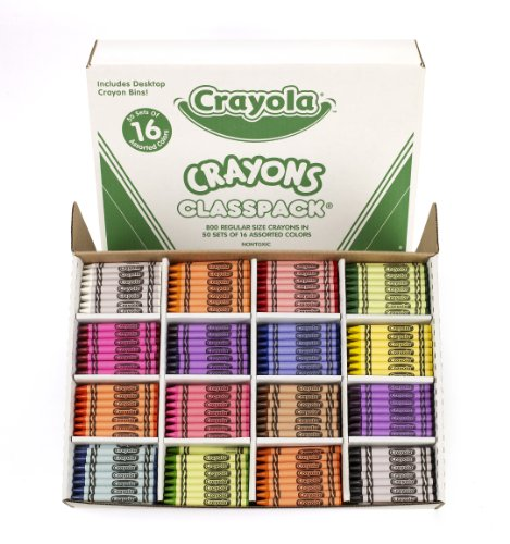 Crayola Classpack Assortment, 800 Crayons, 16 Assorted Colors (50 Each), Great Classroom Materials, Teaching Supplies, All-Purpose Art Tools
