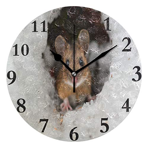 Ladninag Wall Clock Mouse in The Snow Cave Silent Non Ticking Decorative Round Digital Clocks Indoor Outdoor Kitchen Bedroom Living Room ()