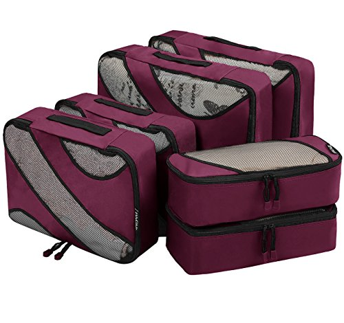 6 Set Packing Cubes,3 Various Sizes Travel Luggage Packing Organizers (Burgundy) (Best Hotels In Times Square For Families)