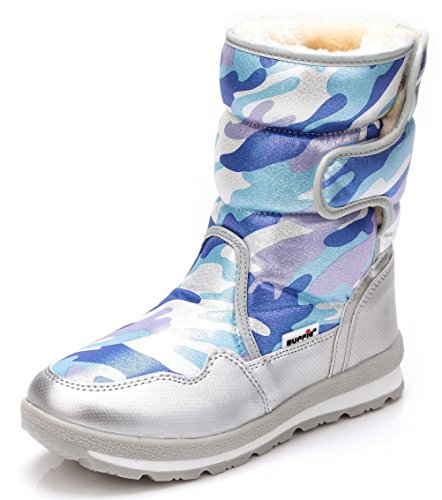Price comparison product image DADAWEN Girl's Boy's Waterproof Outdoor Cold Weather Snow Boots (Toddler/Little Kid/Big Kid) Blue US Size 2 M Little Kid