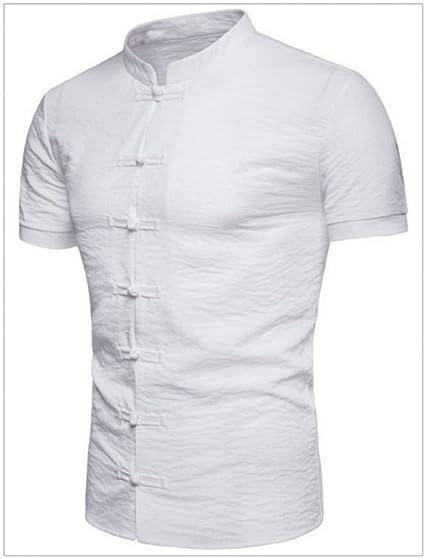 GKKYU Chaleco De Manga Corta Camisa China De Estilo Vintage para Hombre Camisa De Algodón De Lino De Manga Corta Y Corte Ajustado Camisa Casual Negra Blanca Roja Tops: Amazon.es: Deportes y